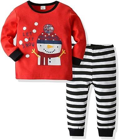 FBGood Pijama de bebé niña de algodón - Conjunto de Pijama para niños y niñas - Pijamas de Navidad - Juego de Camisa de Manga Larga + pantalón a Rayas, Rojo, 110: Amazon.es: Hogar