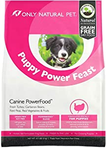 Only Natural Pet Dry Dog Food Puppy Power Feast Canine PowerFood - Grain Free, Naturally Paleo Friendly Formula - Turkey & Chicken Blend