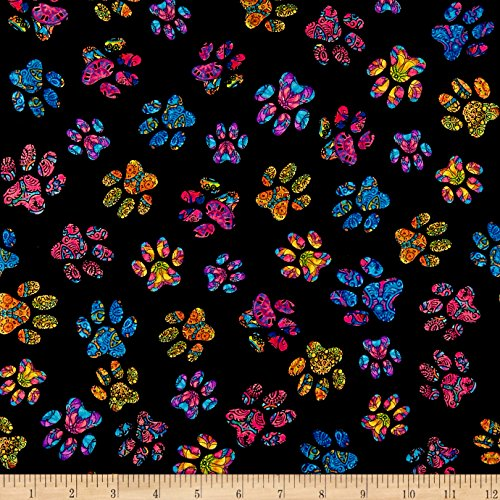 Fabric & Fabric QT Purr-Suasion Cat Paws Black Fabric by The Yard