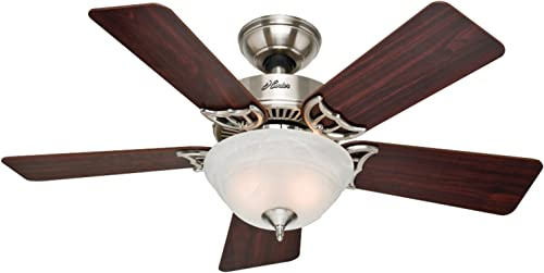 Hunter Fan Company Hunter 51015 The Kensington 42-inch Brushed Nickel Ceiling Fan with Five Cherry Maple Blades and Bowl Light Kit