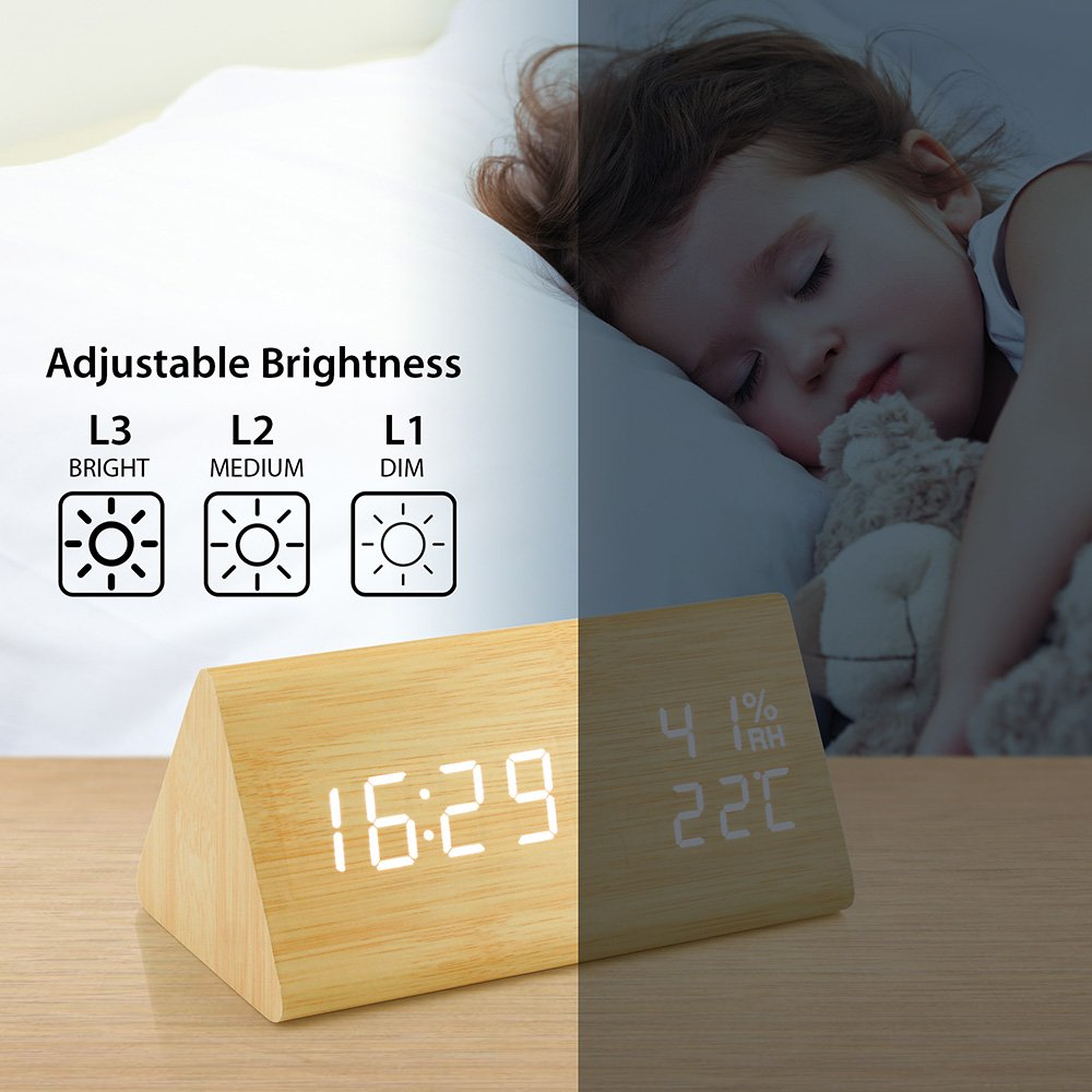 Oct17 Wooden Alarm Clock, Wood LED Digital Desk Clock, UPGRADED With Time Temperature, Adjustable Brightness, 3 Set of Alarm and Voice Control, Humidity Displaying - Bamboo by Oct17 (Image #5)