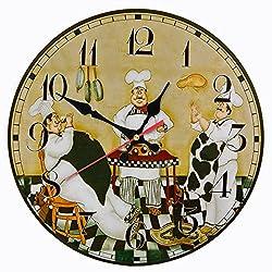 Moonluna Kitchen Chefs Wall Clock Wooden Clock for Living Room Decoration Housewarming Present Ticking Silent 14 inch