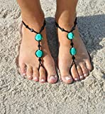 SunSandals Barefoot Sandals Foot Ankle Jewelry Anklets - Black Swirl - Large