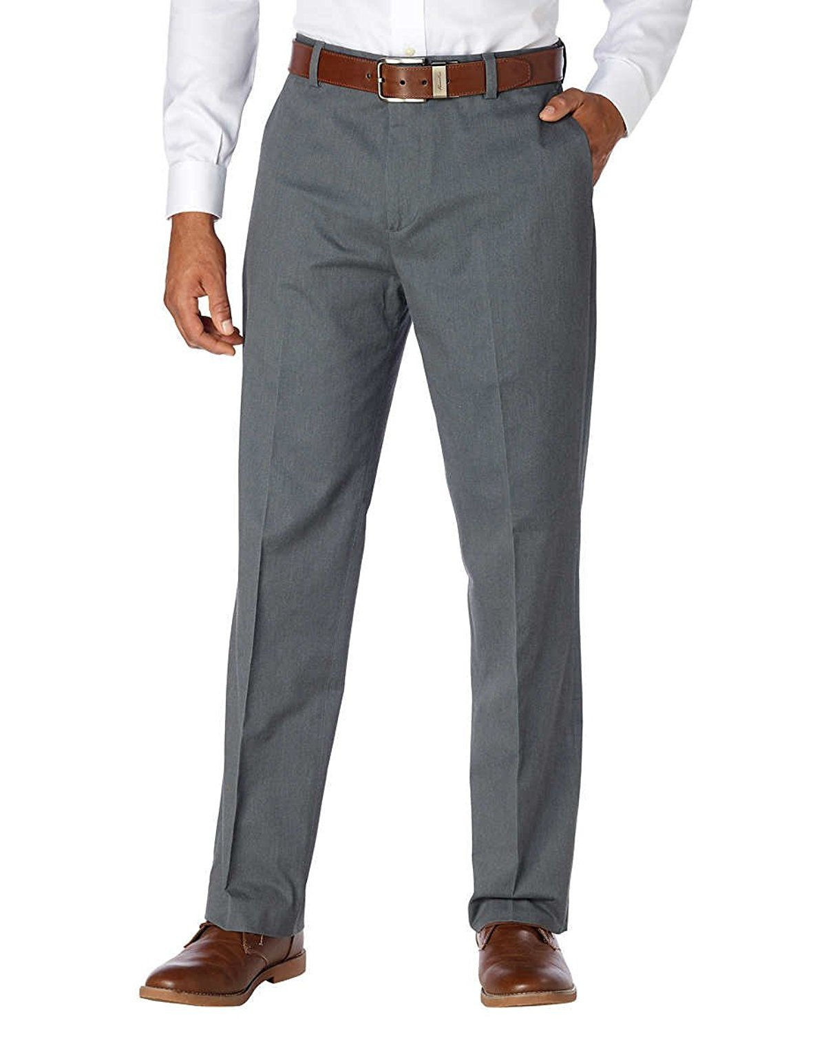 Kirkland Signature Men's Non-Iron Comfort Pant (Grey, 38 x 30)