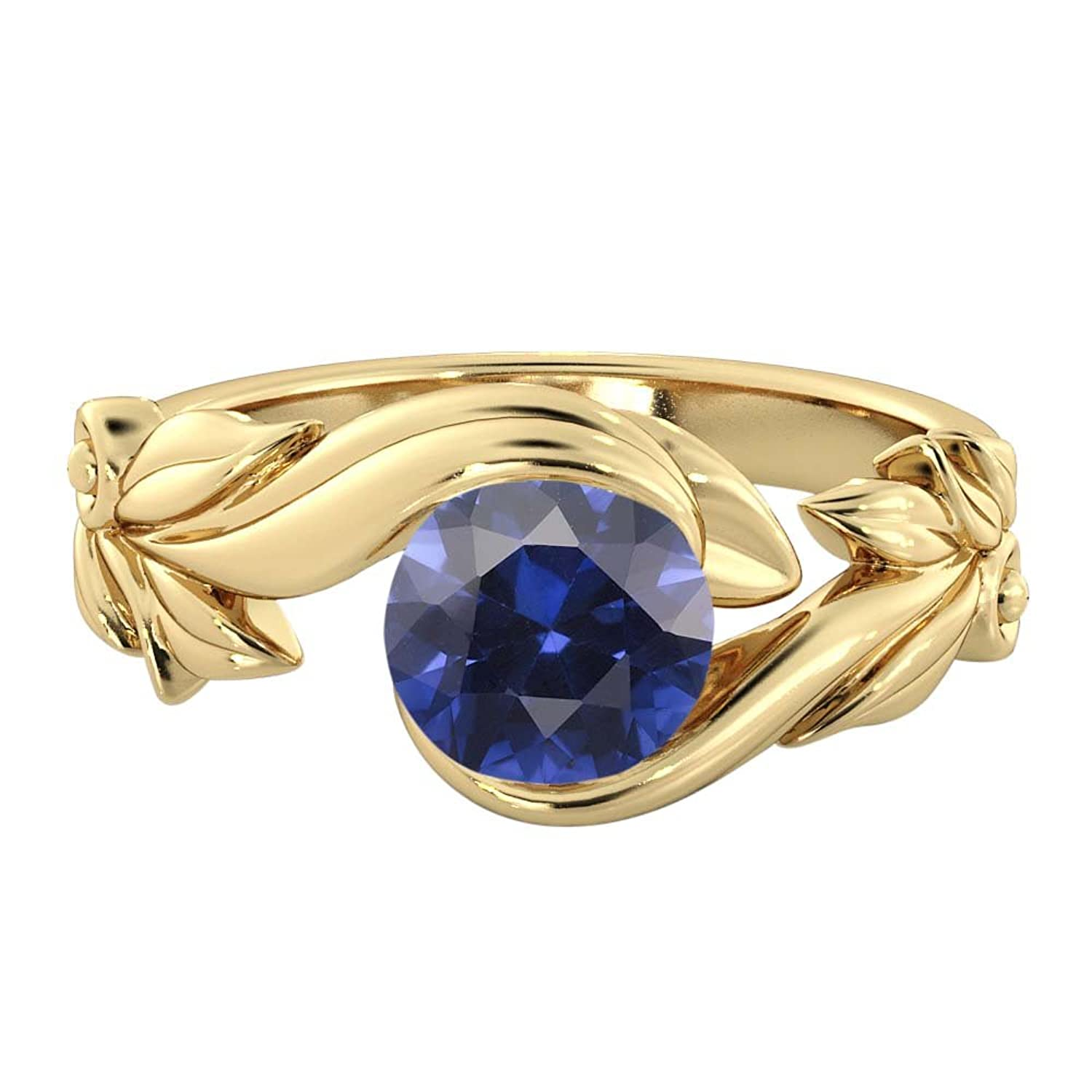 Blue Sapphire 1.00 ctw Engagement Ring 14K Flower Leaves Leaf