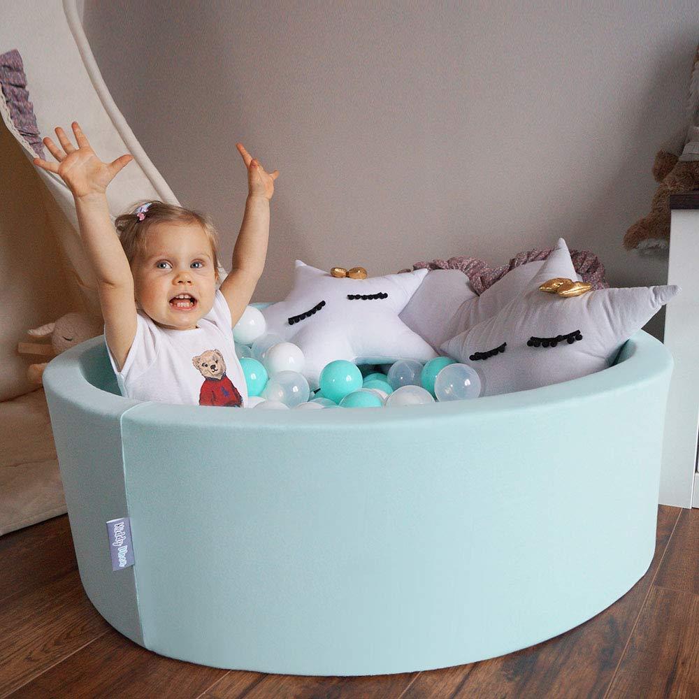 KiddyMoon 700 /∅ 7CM Palline Morbide Colorate per Piscina Bambini Fatto in EU Rosa Chiaro//Perla//Trasparente