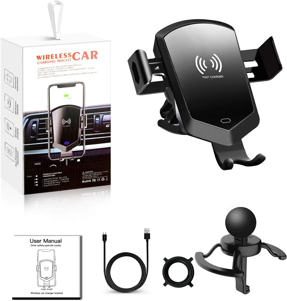 10W Fast Charging Air Vent Phone Holder for Car, Car Phone Mount Fits for iPhone Xs//Xs Max//XR//8 Plus,Samsung Galaxy S10//S10+ S9//S8,and All Qi-Enable Devices Wireless Car Charger Mount Auto Clamping