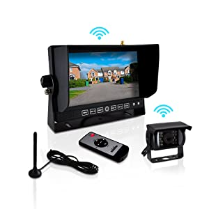 """Pyle Wireless 2.4G Mobile Video Surveillance System - Weatherproof and Night Vision Rearview Backup Camera and 7"""" Monitor or Trucks, Trailers, Vans, Buses and Vehicles - PLCMTR82WIR"""