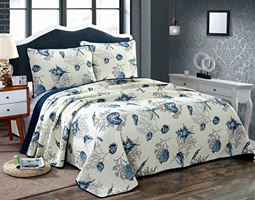 Butterfly Chenille Bedspread (3-Piece 100% Cotton Quilt Sets, Blue Shell Tread Design Bedspread Sets, Queen Size (Style#8))
