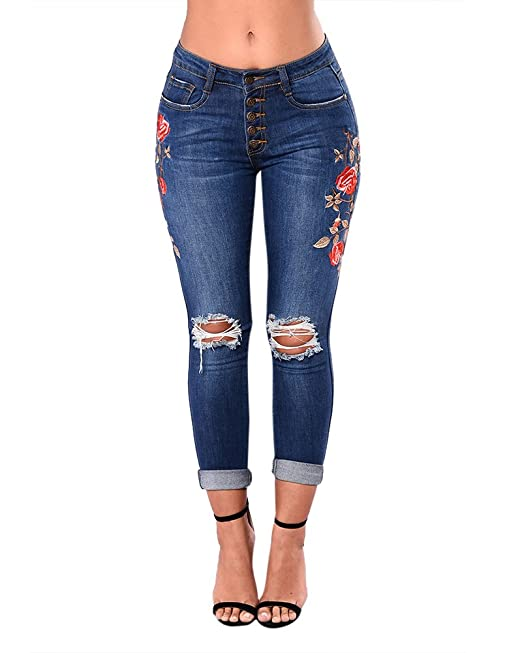 Mujer Pantalón Boyfriend Pantalones Vaqueros Impresión De ...
