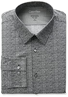 Calvin Klein Men's Stretch Xtreme Slim Fit Herringbone Print Point Collar Dress Shirt