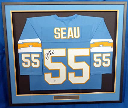 buy popular 7ce82 caa30 Signed Junior Seau Jersey - Framed Powder Blue Beckett BAS ...
