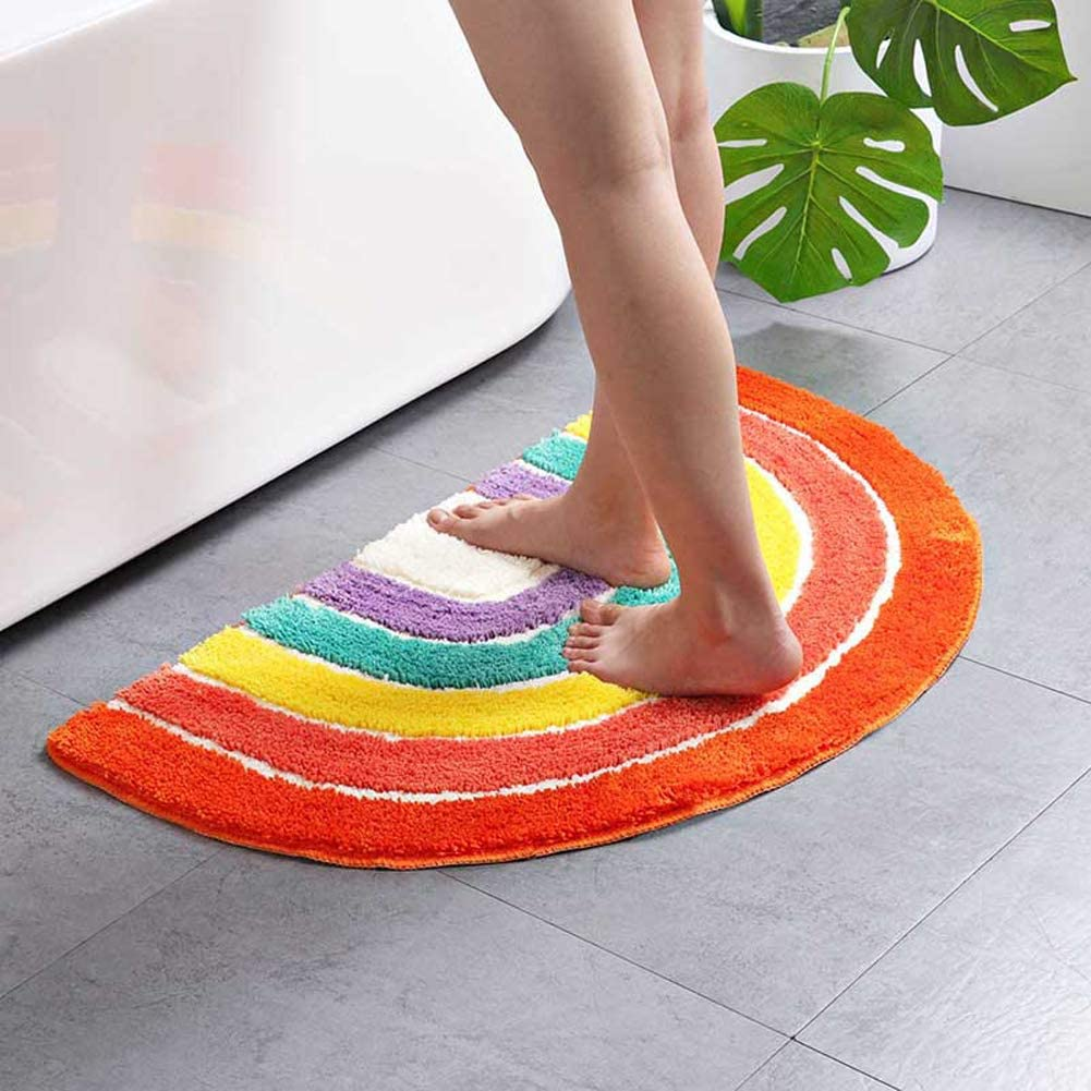 ZaH Rainbow Semi-Circle Mat for Front Door Bath Home Decorative Carpet Soft Area Rug for Bedroom Living Room Kids Playroom
