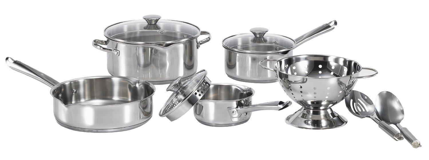 WearEver A834S9 Cook and Strain Stainless Steel Cookware Set, 10-Piece, Silver by WearEver