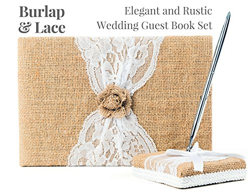 Rustic Wedding Guest Book Made of Burlap and Lace - Includes Burlap Pen Holder and Silver Pen - 120 Lined Pages for Guest Thoughts - Comes in Gift Box (Burlap Flower) -