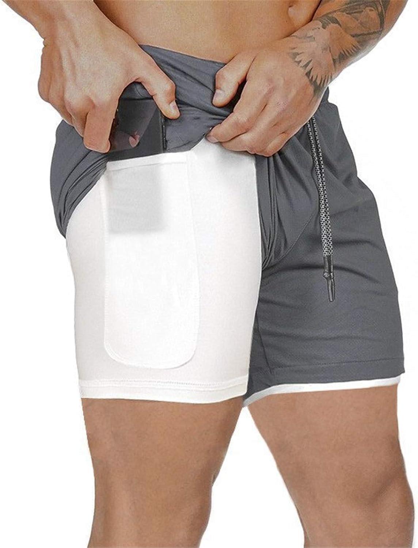 Kfnire Deporte Pantalones Cortos para Hombre 2 en 1 Pantalones Cortos de Gimnasio con Forro de Bolsillo Incorporado Fitness Secado R/ápido Transpirables Hombre Shorts Deportivos para Correr
