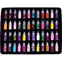 48 Botellas, Adorno de decoración para Las uñas, DIY 3D Crystal Nail Art Powder Sequins Glitter Manicure Tips Set Belleza Estilo Aleatorio