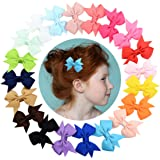 YALUN Tiny No Slip Hair Clips for Baby Girls Toddlers Fully Lined 2-3 inch Ribbon Hair Bow Alligator Clips Hair Accessories Pack of 20pcs with Gift Bag(multicolor)