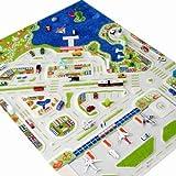 IVI - Alfombra infantil de juegos en 3D (1,34 x 1,8 m, tamaño grande), diseño de ciudad