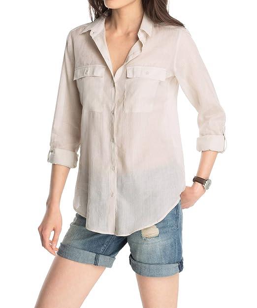 Esprit 035EE1F015 - Blusa, con manga larga para mujer, color beige (arenite beige