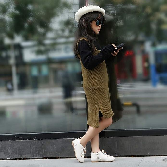 Botas de Cuero para Bebé Niñas Invierno Moda PAOLIAN Botines Planos Espesar Zapatos de Vestir de Niñas Fiesta Rebajas Otoño Calzado Princesa Piel sintética ...