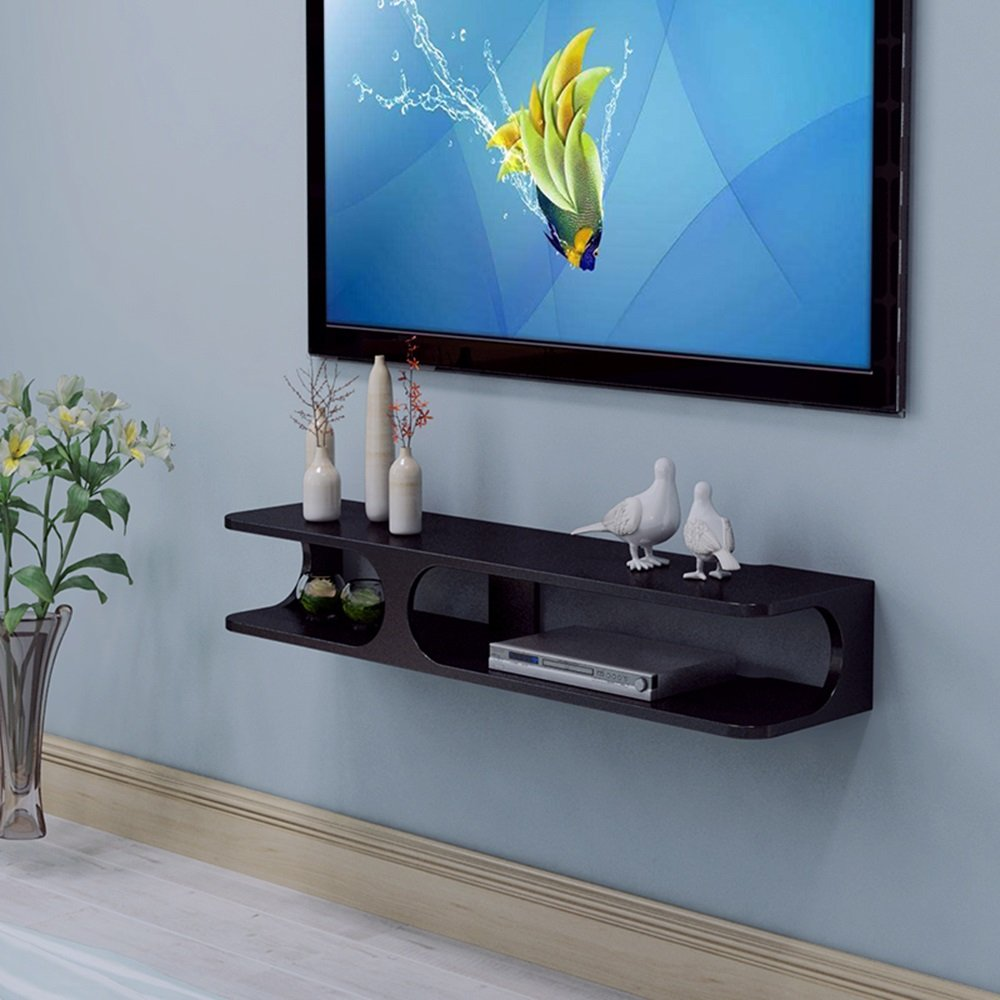 ZHPRZD 2-Layer Modern Wall-Mounted Floating Shelf TV Console 43.3''x9.4''x7'' for DVD Player/Cable Box/Router/Remote Control/Game Console (White/Black) Storage Shelves (Color : Black) by ZHPRZD