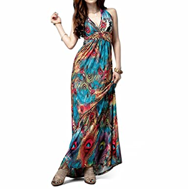 TopTie Flaming Peacock Feather Print Empire Waist Maxi Dress at ...