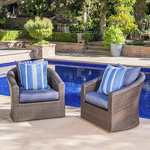 Dillard Outdoor Aluminum Framed Mix Brown Wicker Swivel Club Chair with Water Resistant Cushions (Set of 2, Navy Blue)