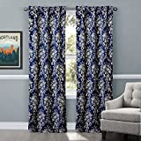 MICHELE HOME FASHION 25 (Set of 1 panel) (100″ W x 108″ L) Rod Pocket Print Elegant Dark Navy Smiling Rose Floral Blackout Lining Window Treatment Draperies & Curtains Panels For Sale