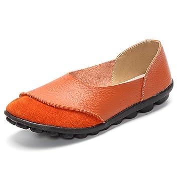SHINIK Zapatos de mujer de cuero Primavera Verano Mocasines planos Casual Slip-Ons y mocasines (Color : Segundo, tamaño : 40): Amazon.es: Deportes y aire ...