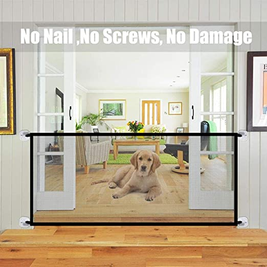 Coil.c - Barrera de seguridad para escaleras, rejilla de protección para puerta, valla para mascotas, plegable, red de seguridad portátil para bebés, perros y gatos, 18072 cm: Amazon.es: Productos para mascotas