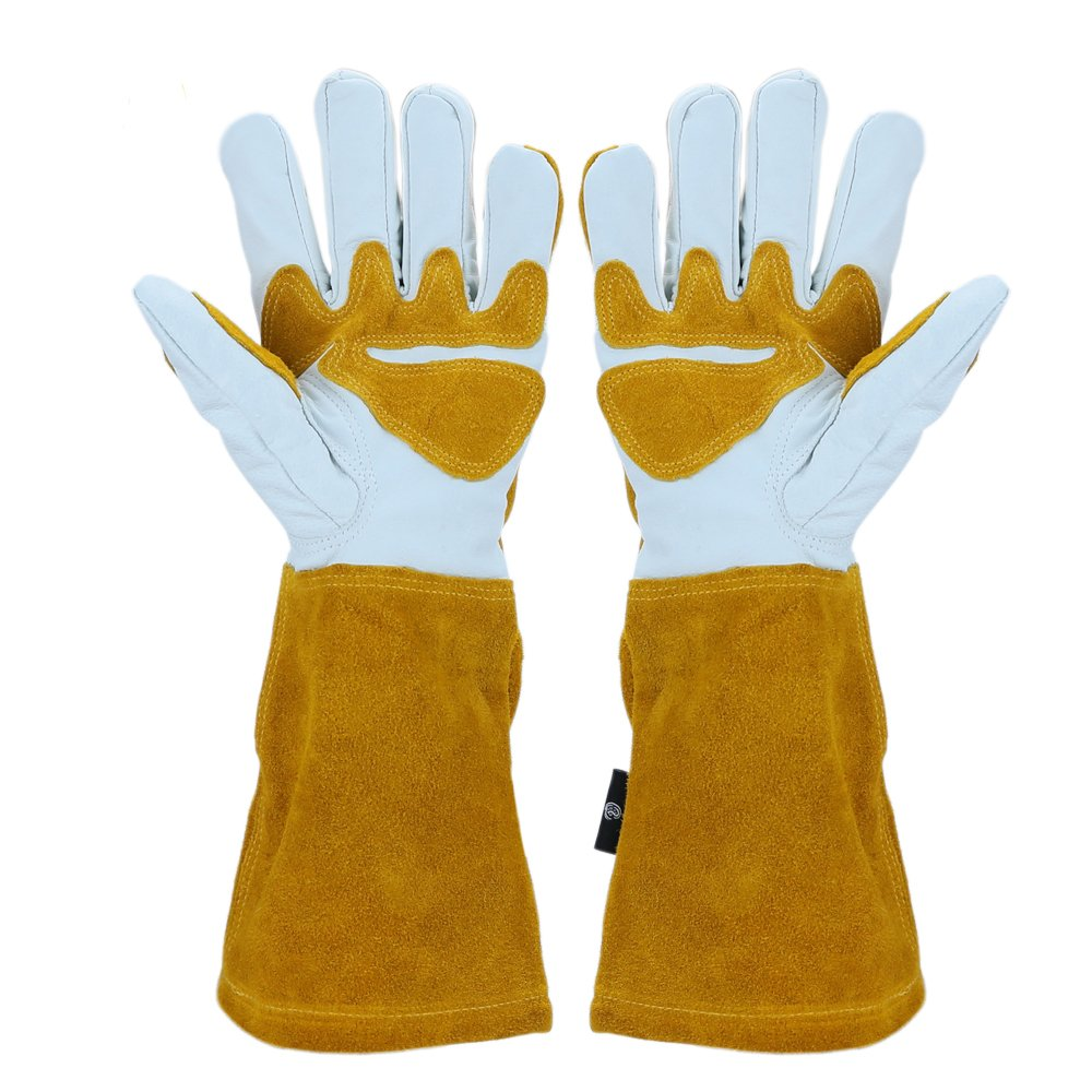 OLSON DEEPAK Grain Leather MIG Gloves with Split Leather Palm Reinforcements, Split Leather Back, Cotton Lining, Seamless Forefinger and Elastic Back (White-Golden) HaoYuan Leather