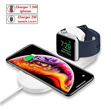 WEIZY 2 in 1 Wireless Charger for Apple Watch, Portable Fast Wireless Charging Dock Stand Compatible with iPhone X/XS MAX/XR/8/8 Plus, Samsung S9 S8 ...