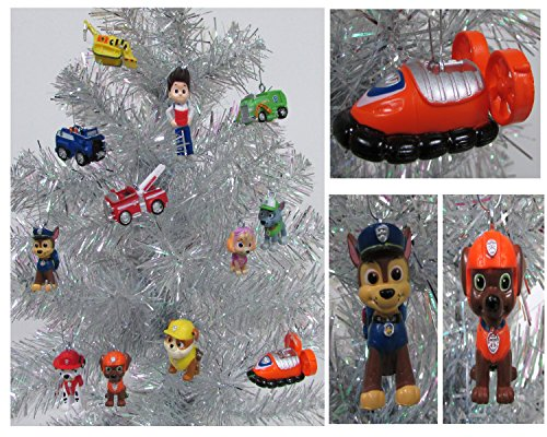 paw patrol 12 piece christmas ornament set featuring skye marshall chase rubbie