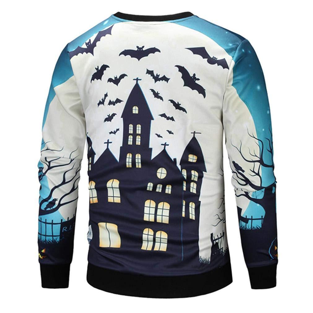 34939dfd656c51 Bar-Accessoires YunYoud Männer 3D Print Halloween Langarm Crew Pullover Top Moderne  Pullover Herren Rollkragenpullover für ...