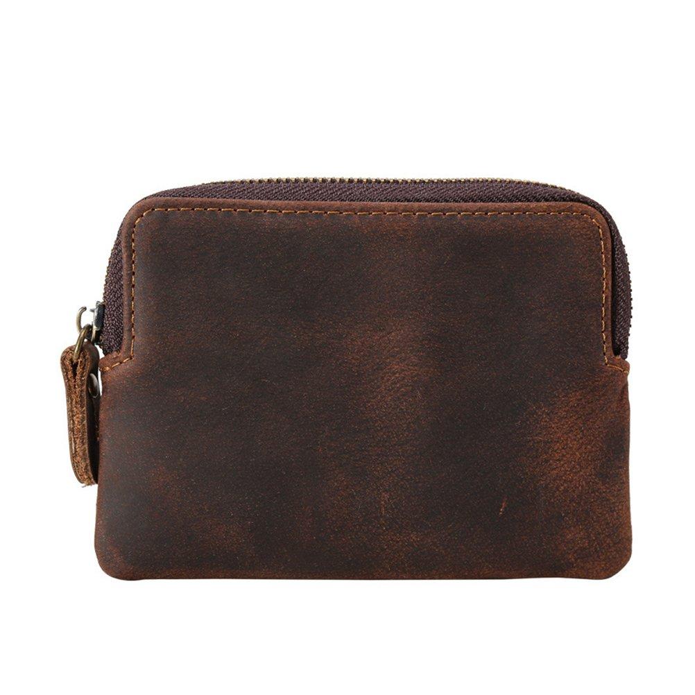Men's Leather Coin Purse Fmeida Slim Zipper Wallet Vintage Change Holder for Boys 9111