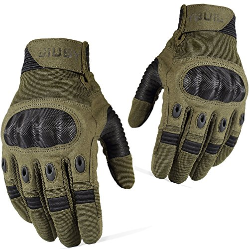 JIUSY Tactical Military Hard Knuckle Full Finger Gloves