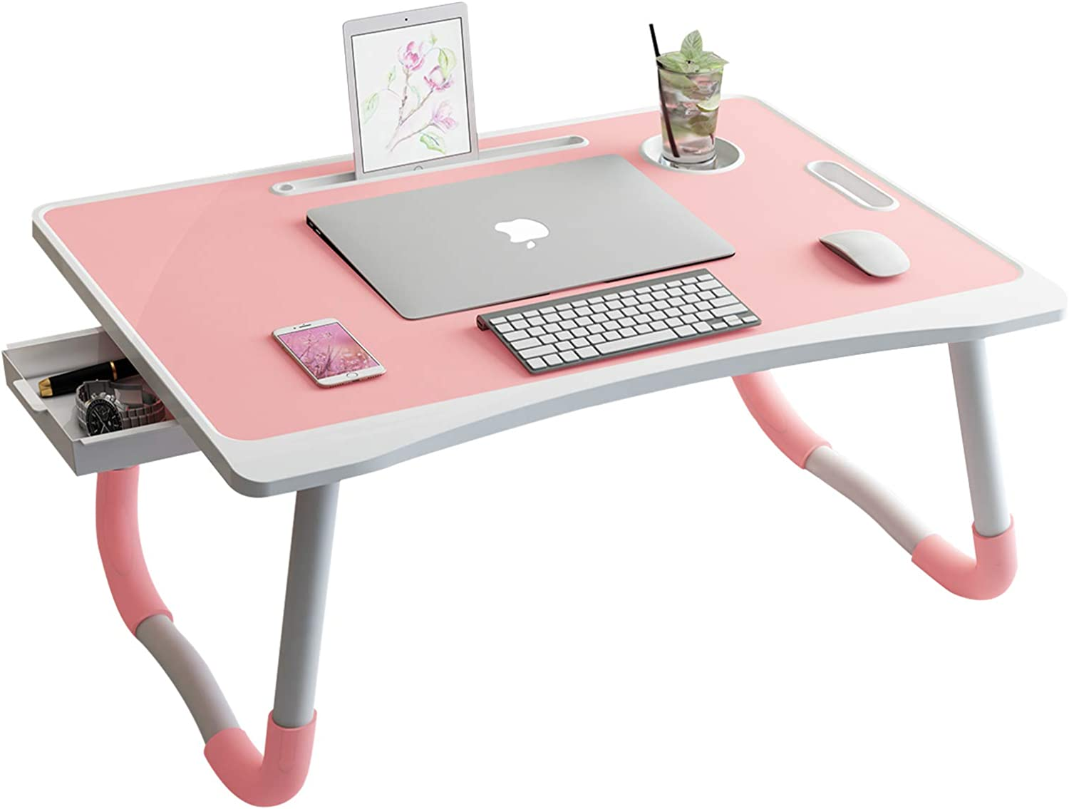 Home Laptop Desk with Storage Drawer, Foldable Lap Desk Bed Table Tray with Cup Holder and Tablet Slots for Bed Couch Sofa Working Desk (Pink)