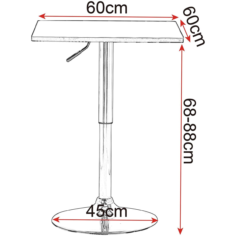 eSituro SBST0094 1 x Bartisch Esstisch K/üchentisch Stehtisch Schwarz Tischplatte 60x60 cm h/öhenverstellbar /& 360/° drehbar