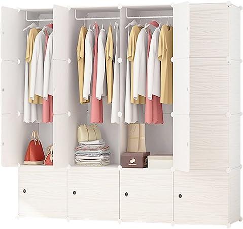 Ettbja Diy Plastic Wardrobe Portable Wooden Pattern Closet With Doors Storage Design Your Own 16 Cubes With 4 Hangers Amazon Co Uk Kitchen Home