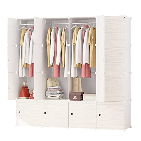 ETTBJA DIY Plastic Wardrobe Portable Wooden Pattern Closet With Doors  Storage Design Your Own(16