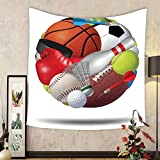 Gzhihine Custom tapestry Sports Decor Tapestry Soccer Ball In Net Goaly Position Sports Competition Spectators Hand Drawn Style Print Bedroom Living Room Dorm Decor Black White