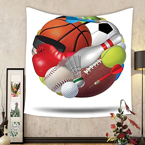 Gzhihine Custom tapestry Sports Decor Tapestry Soccer Ball In Net Goaly Position Sports Competition Spectators Hand Drawn Style Print Bedroom Living Room Dorm Decor Black White by Gzhihine