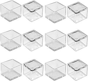 """1"""" x 1"""" Square Chair Leg Caps,SpeedDa 120pcs Transparent Clear Anti-Slip 1 Inch Chair Leg Floor Protectors Chair Table Bar Stool Leg Covers Furniture Leg Cube Feet"""