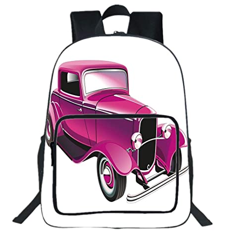 Amazon Com Iprint 19 Large Casual Backpack Hot Pink Vintage Muscle