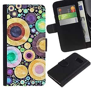 KingStore / Leather Etui en cuir / Samsung Galaxy S6 / Dise?o abstracto de los lunares