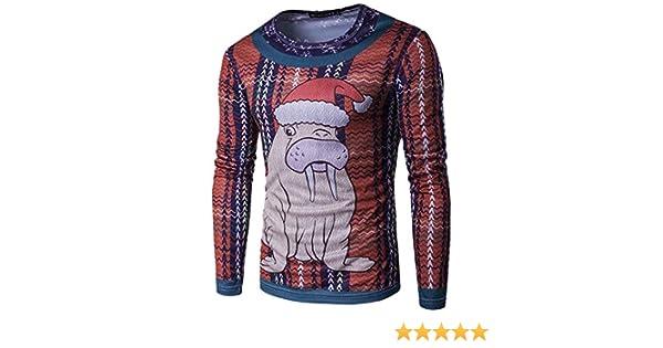 Camisa FEA De Navidad De Los Hombres XMas Camiseta De Manga Larga De Santa Claus: Amazon.es: Ropa y accesorios
