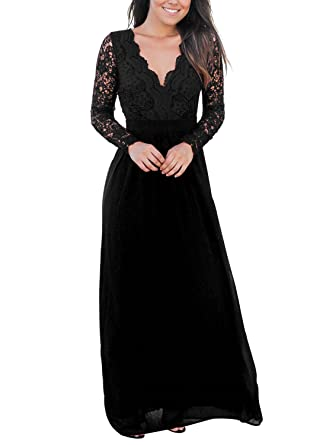 Cyerlia Fall Winter Long Sleeve Lace Maxi Evening Dress For Women Formal Long Prom Dress Black