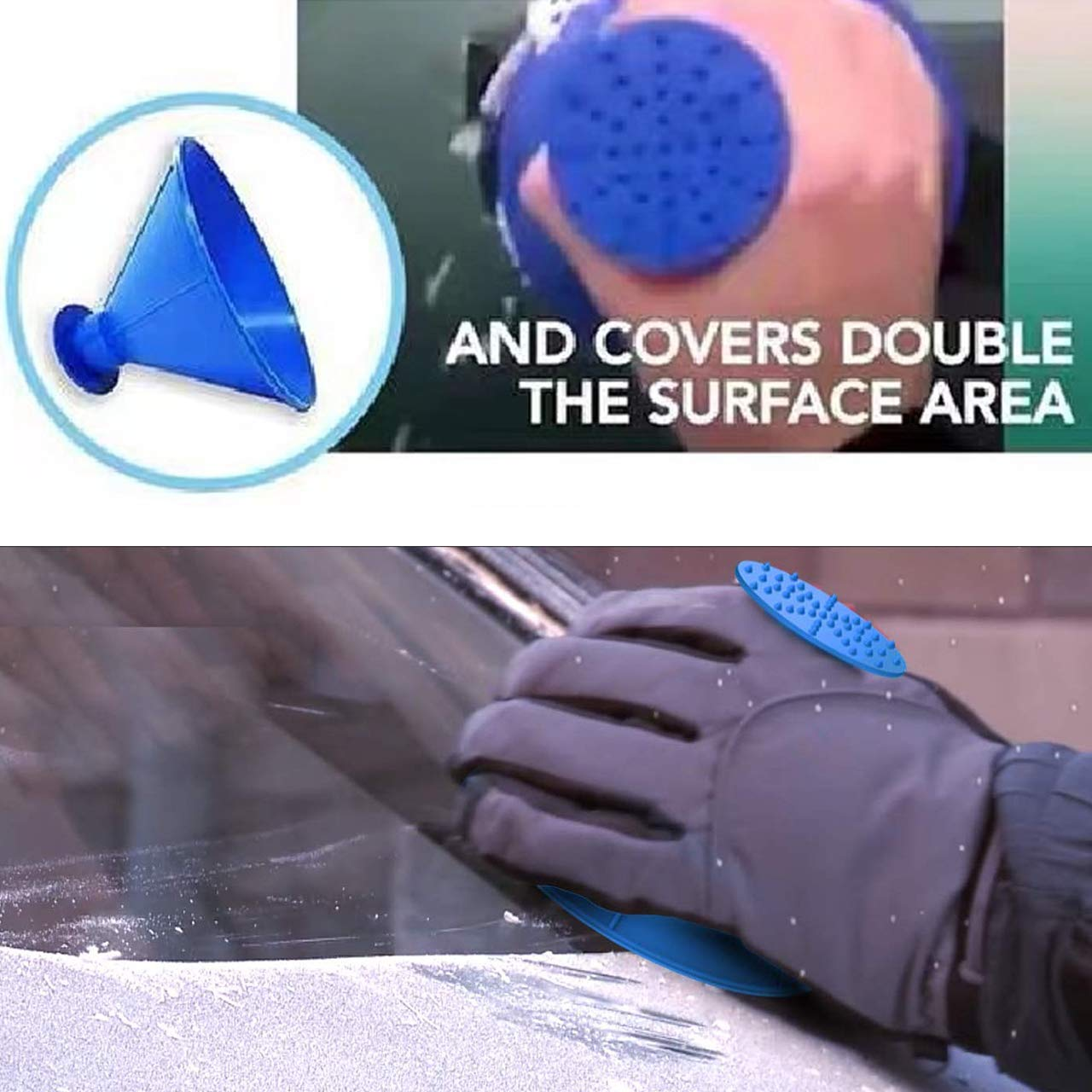 TheONE4US Ice Scraper for Car Car Windshield Snow Remover 2 Sizes Cone Shaped Magic Scrapers with 6 Ice Breakers 10PCS