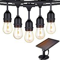 Solar String Lights - 48 ft S14 LED Outdoor IP65 Commercial Grade S14 Heavy Duty Festoon String Light 15 Hanging Sockets…